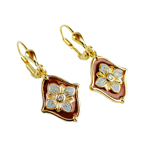 Burgundy Flower Enamel Drop Earrings | The Shops at Colonial Williamsburg