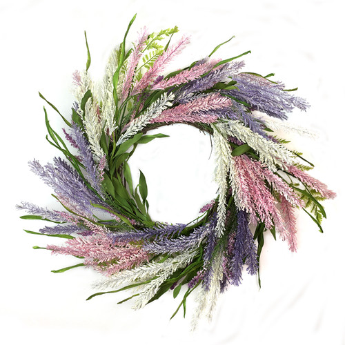 "Pink and Lavender Foxtail 22"" Wreath 
