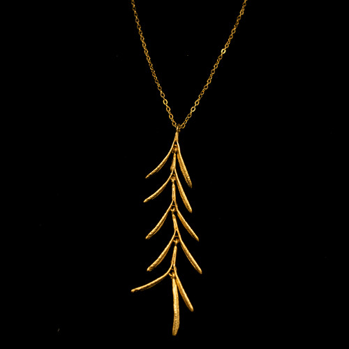 """Michael Michaud Rosemary 24K Gold Plate & Sterling Silver Adjustable 16"""" Pendant 