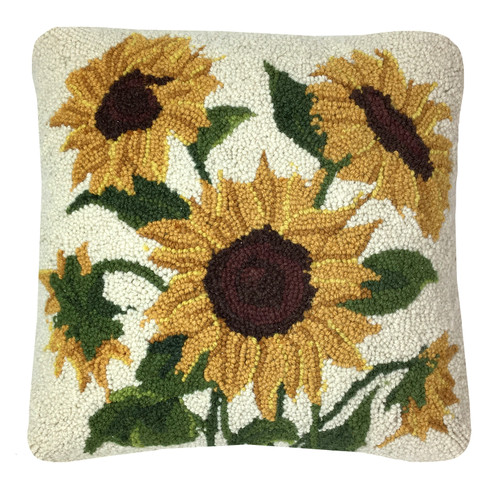 Sunflowers Hooked Wool Pillow | The Shops at Colonial Williamsburg