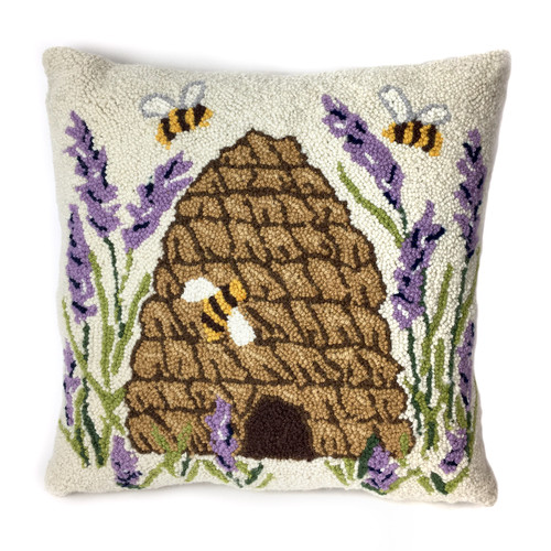 Beeskep and Lavender Hooked Wool Pillow | The Shops at Colonial Williamsburg
