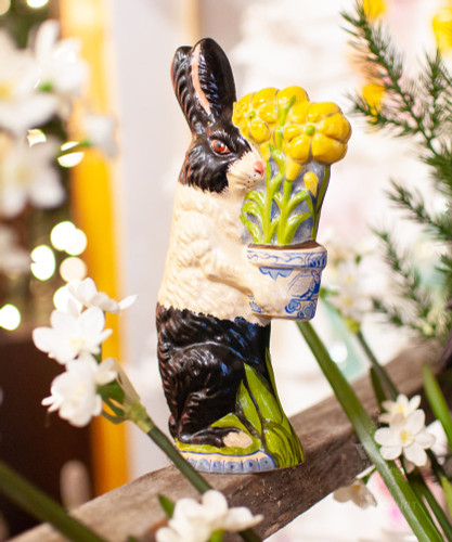 Vaillancourt Black and White Rabbit with Delft Flower Pot | The Shops at Colonial Williamsburg