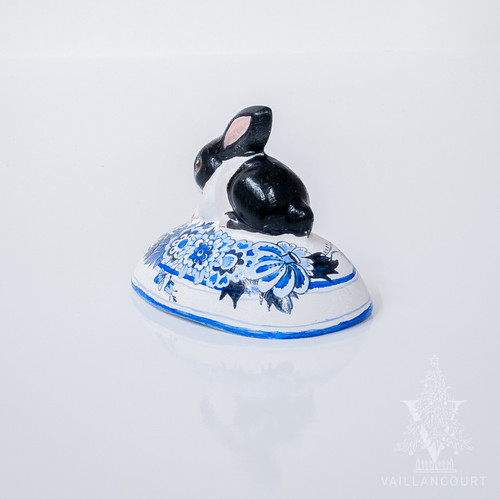 Vaillancourt Black and White Bunny on Delft Egg - small | The Shops at Colonial Williamsburg