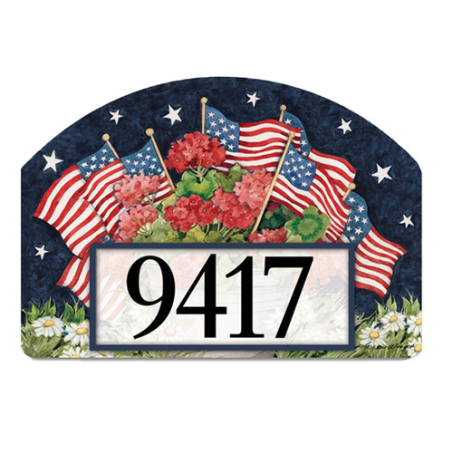 Geraniums and American Flags Yard DeSign Magnet