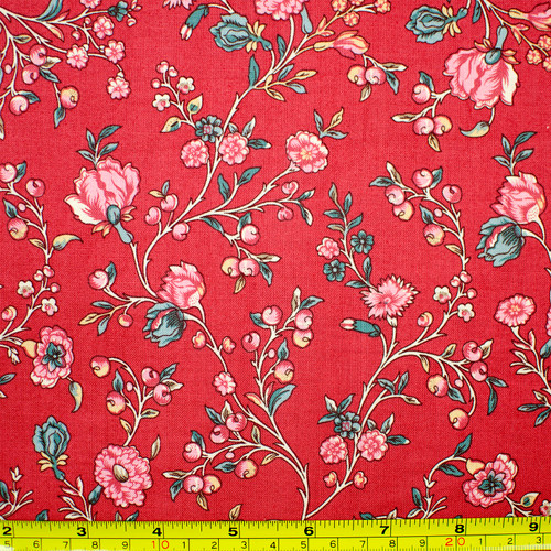 Trailing Blossoms on Red Fabric - reproduction 18th century fabric | The Shops at Colonial Williamsburg