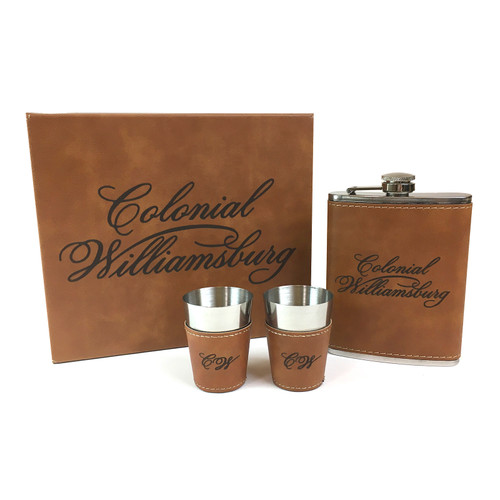 Faux Leather Flask and Shot Glasses Boxed Gift Set | The Shops at Colonial Williamsburg