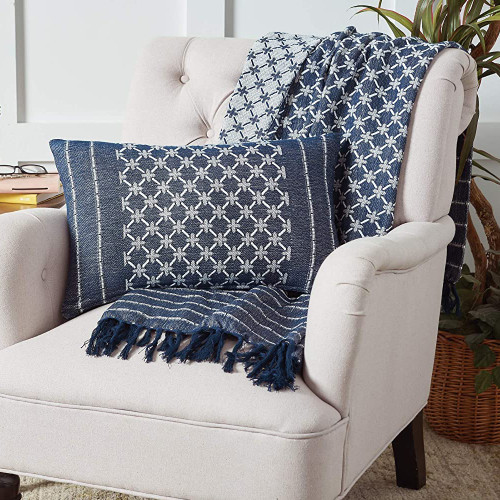 Markle Woven Accent Pillow - Navy   The Shops at Colonial Williamsburg