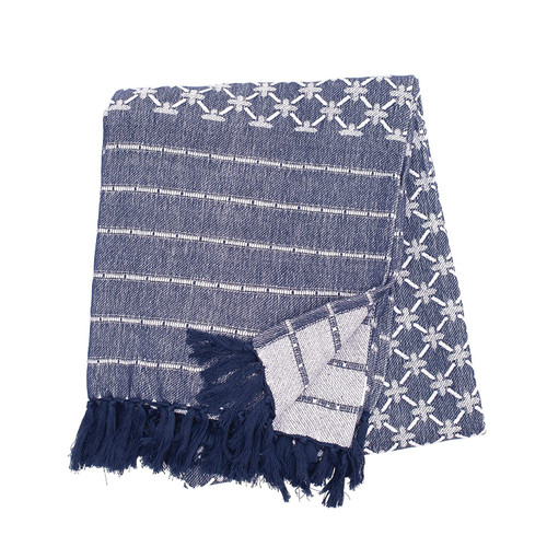 Markle Woven Throw - Navy | The Shops at Colonial Williamsburg
