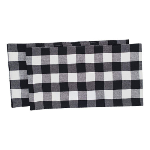 Franklin Buffalo Check Kitchen & Table Linens - Black and White - table runner | The Shops at Colonial Williamsburg