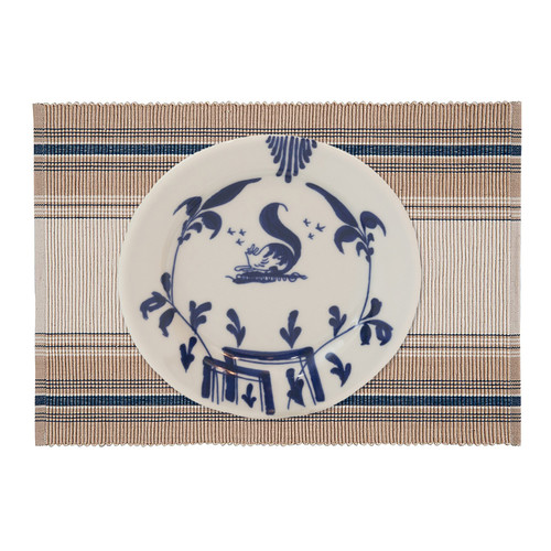 French Blue Stripe Table Linens - placemat with Christiana Campbell's Tavern Dinnerware | The Shops at Colonial Williamsburg