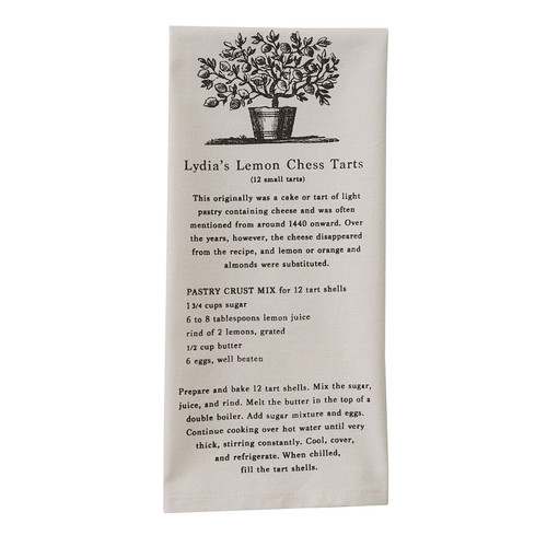 Lydia's Lemon Chess Tarts Recipe Dishtowel | The Shops at Colonial Williamsburg
