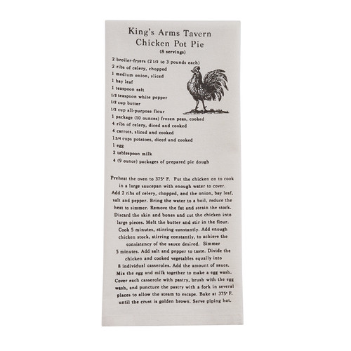 King's Arms Tavern Chicken Pot Pie Recipe Dishtowel | The Shops at Colonial Williamsburg