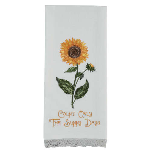"Sunflower ""Count Only the Sunny Days"" Embroidered Dishtowel 