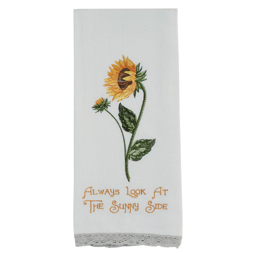 "Sunflower ""Always Look at the Sunny Side"" Embroidered Dishtowel 