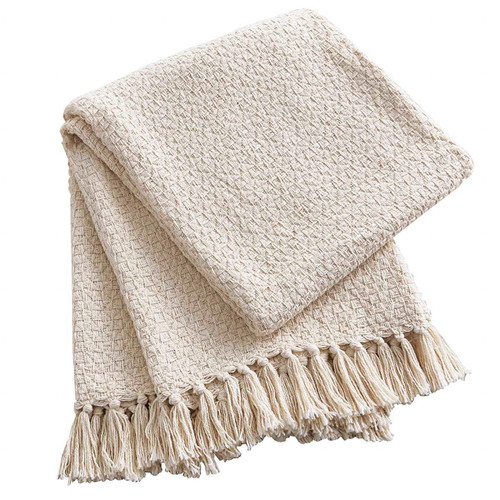 Double Weave Natural Throw Blanket | The Shops at Colonial Williamsburg