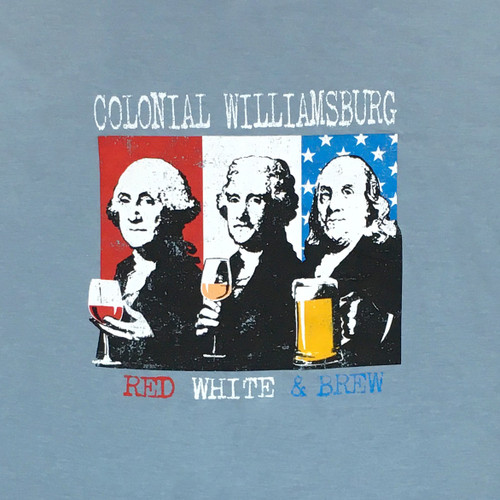 """Colonial Williamsburg """"Red, White, and Brew"""" Adult T-Shirt - Gray"""