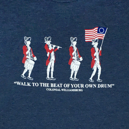 """Colonial Williamsburg """"Walk to the Beat of Your Own Drum"""" Adult T-Shirt - Denim Blue 