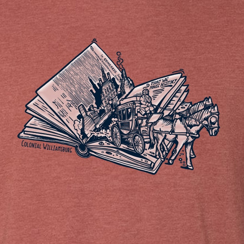 """Colonial Williamsburg """"Today We Make History"""" Adult T-Shirt - Red Clay 
