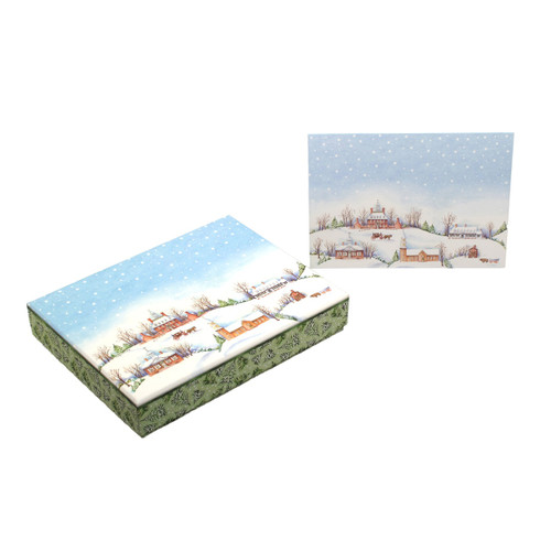 Snowy Village Boxed Christmas Cards   The Shops at Colonial Williamsburg