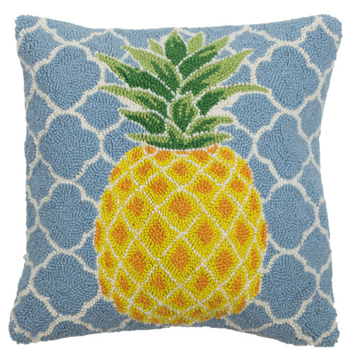 Pineapple Fretwork Hooked Wool Pillow | The Shops at Colonial Williamsburg