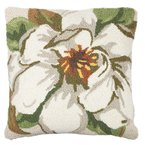 Magnolia Hooked Wool Pillow | The Shops at Colonial Williamsburg