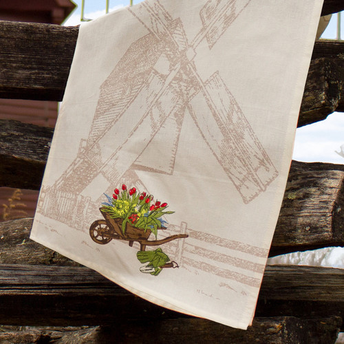 Windmill Printed & Embroidered Dishtowel | The Shops at Colonial Williamsburg