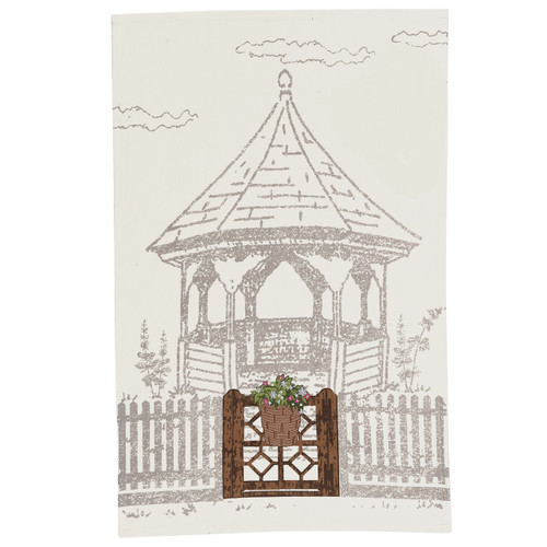 Gazebo Printed & Embroidered Dishtowel | The Shops at Colonial Williamsburg
