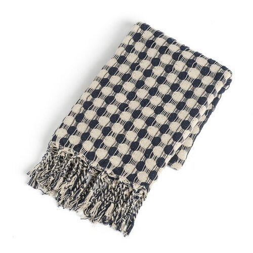 Recycled Cream & Navy Check with Braided Fringe Woven Throw   The Shops at Colonial Williamsburg