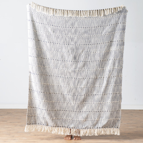 Blue & Natural Melange Striped Slub Woven Throw | The Shops at Colonial Williamsburg