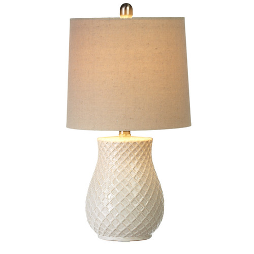 Ivory Embossed Diamond Pattern Table Lamp | The Shops at Colonial Williamsburg