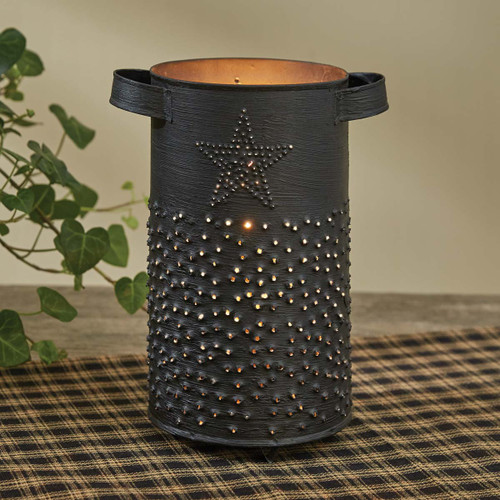 Punched Metal Star Pillar Candle Holder   The Shops at Colonial Williamsburg