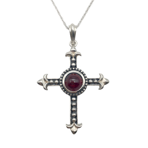 Garnet Silver Cross Pendant | The Shops at Colonial Williamsburg