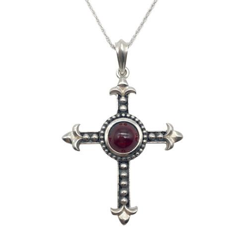 Garnet Silver Cross Pendant | The Shops at Colonial Williamsburg