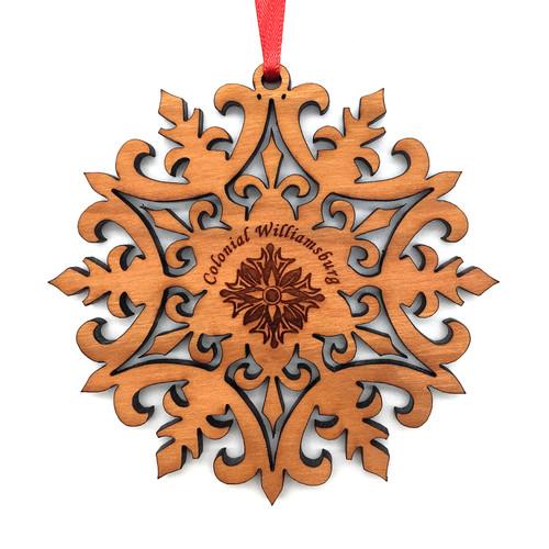 Colonial Williamsburg Magnolia & Snowflake Wood Ornament | The Shops at Colonial Williamsburg