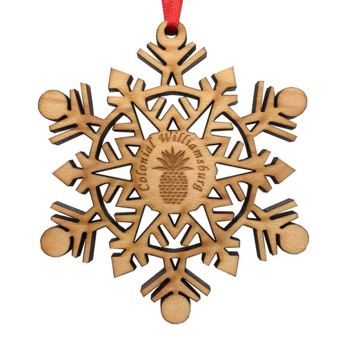 Colonial Williamsburg Pineapple & Snowflake Wood Ornament | The Shops at Colonial Williamsburg
