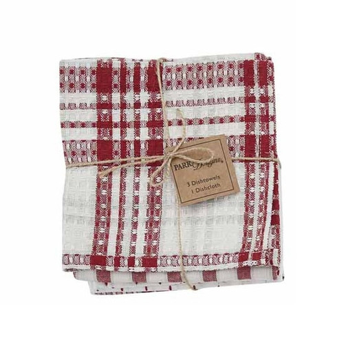 Peppermint Plaid Kitchen Towels & Dish Cloth Set | The Shops at Colonial Williamsburg