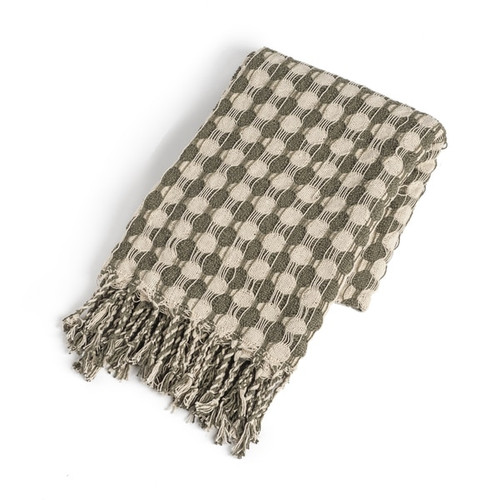 Recycled Cream & Sage Check with Braided Fringe Woven Throw   The Shops at Colonial Williamsburg