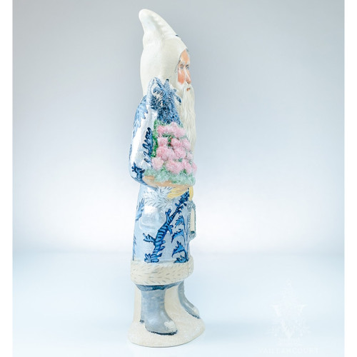 Vaillancourt Chalkware Santa in Silver and Blue Coat with Applecone | The Shops at Colonial Williamsburg