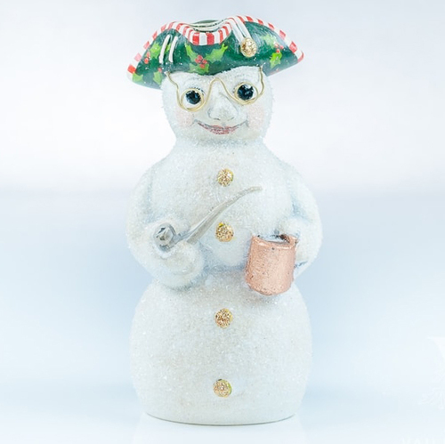 Vaillancourt Chalkware Glittered Colonial Snowman with Glasses | The Shops at Colonial Williamsburg