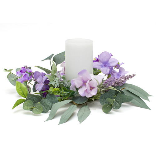 """Purple Flowers Candle Ring 14"""" 