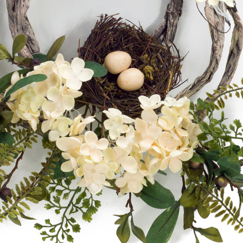 """Hydrangea, Foliage, Vine, & Bird Nest Wreath 20"""" - detail image of bird nest and flowers 