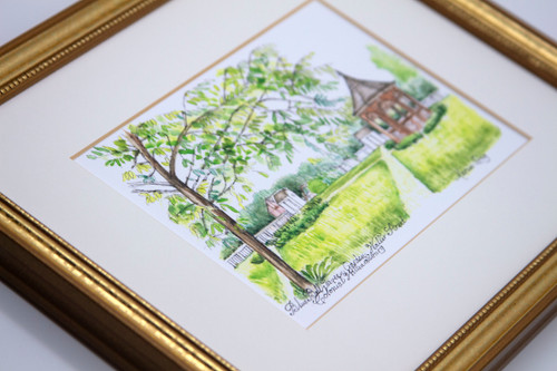 Blue Bell Tavern Garden Framed Print by Marcia Long | The Shops at Colonial Williamsburg