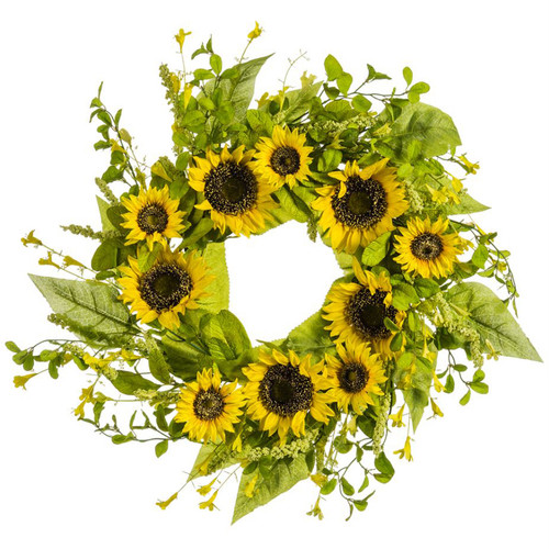 """Yellow Sunflower & Wildflower Wreath 24""""   The Shops at Colonial Williamsburg"""