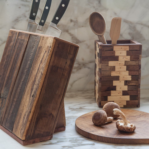 Mosaic Reclaimed Wood Utensil Holder | The Shops at Colonial Williamsburg
