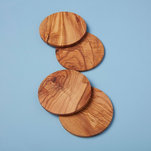 Olive Wood Round Coasters, Set of 4   The Shops at Colonial Williamsburg