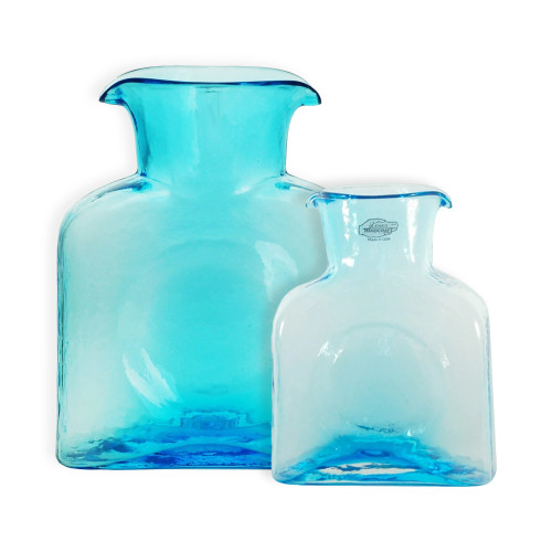 (Right) Blenko Glass Mini 384 Ice Blue Water Bottle | The Shops at Colonial Williamsburg