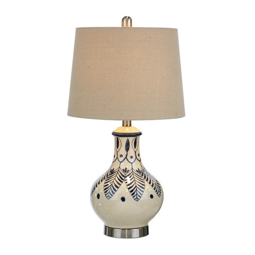 Painted Feather Blue and White Table Lamp | The Shops at Colonial Williamsburg