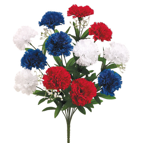"""Red, White, and Blue Carnation Bush 18"""" 