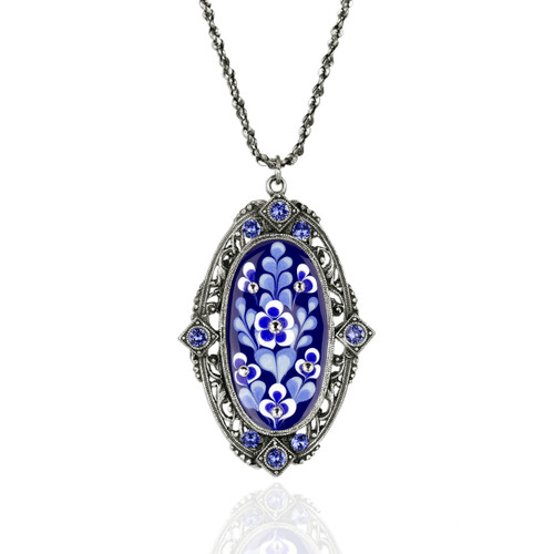 Blue & White Oval Flower Pendant Necklace with Crystals | The Shops at Colonial Williamsburg