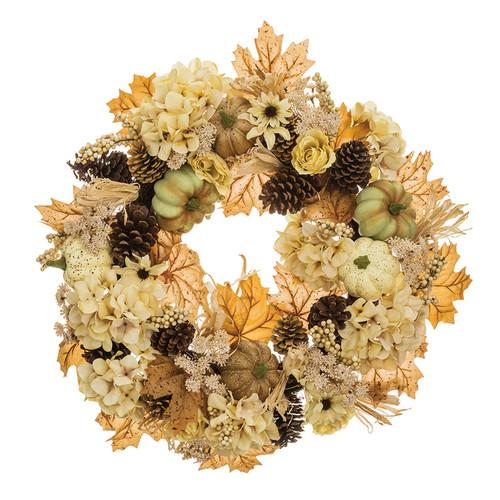 "Hydrangea, Pumpkin, and Pine Cone Fall Wreath 24"" | The Shops at Colonial Williamsburg"